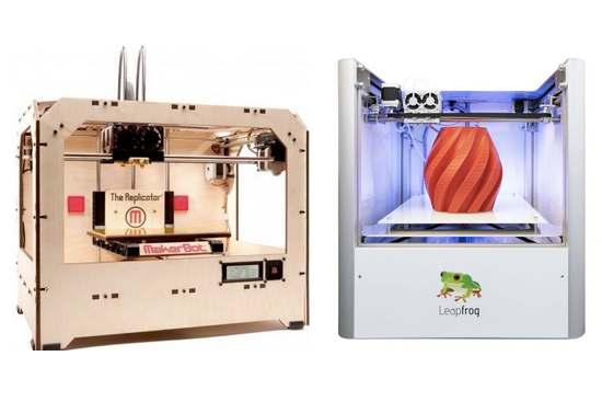 Pierwszy Replicator MakerBot ze stycznia 2012 r. vs. Leapfrog z połowy 2012 r.