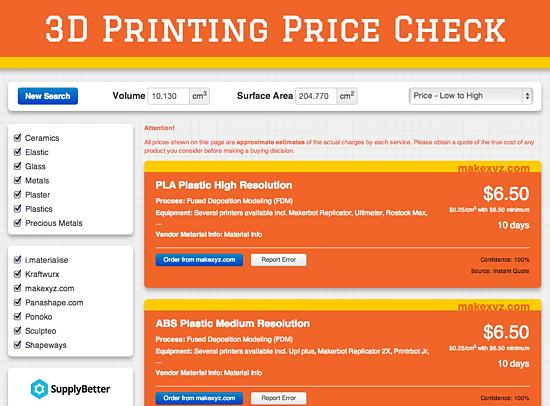 3d printing price check