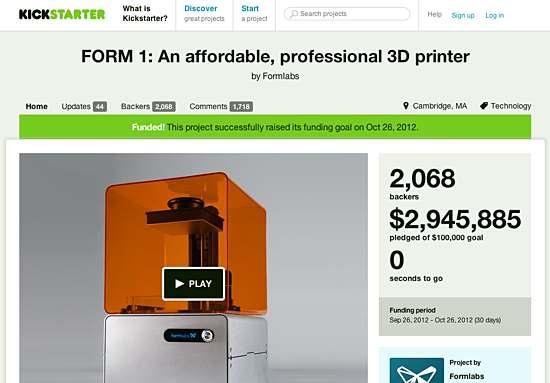 Słynny projekt Formlabs na Kickstarterze Źródło: www.kickstarter.com
