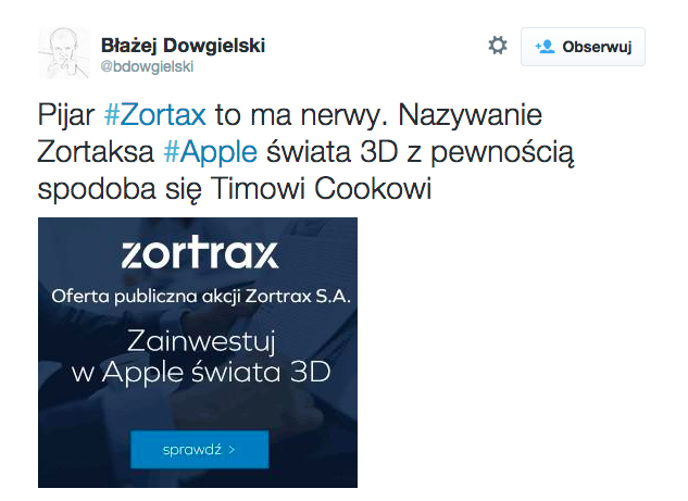 Zortrax Tweet