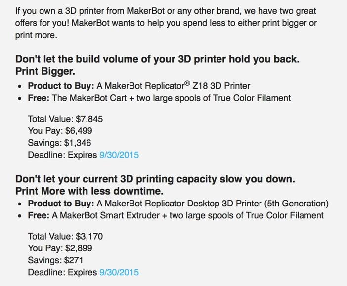 MakerBot promocja