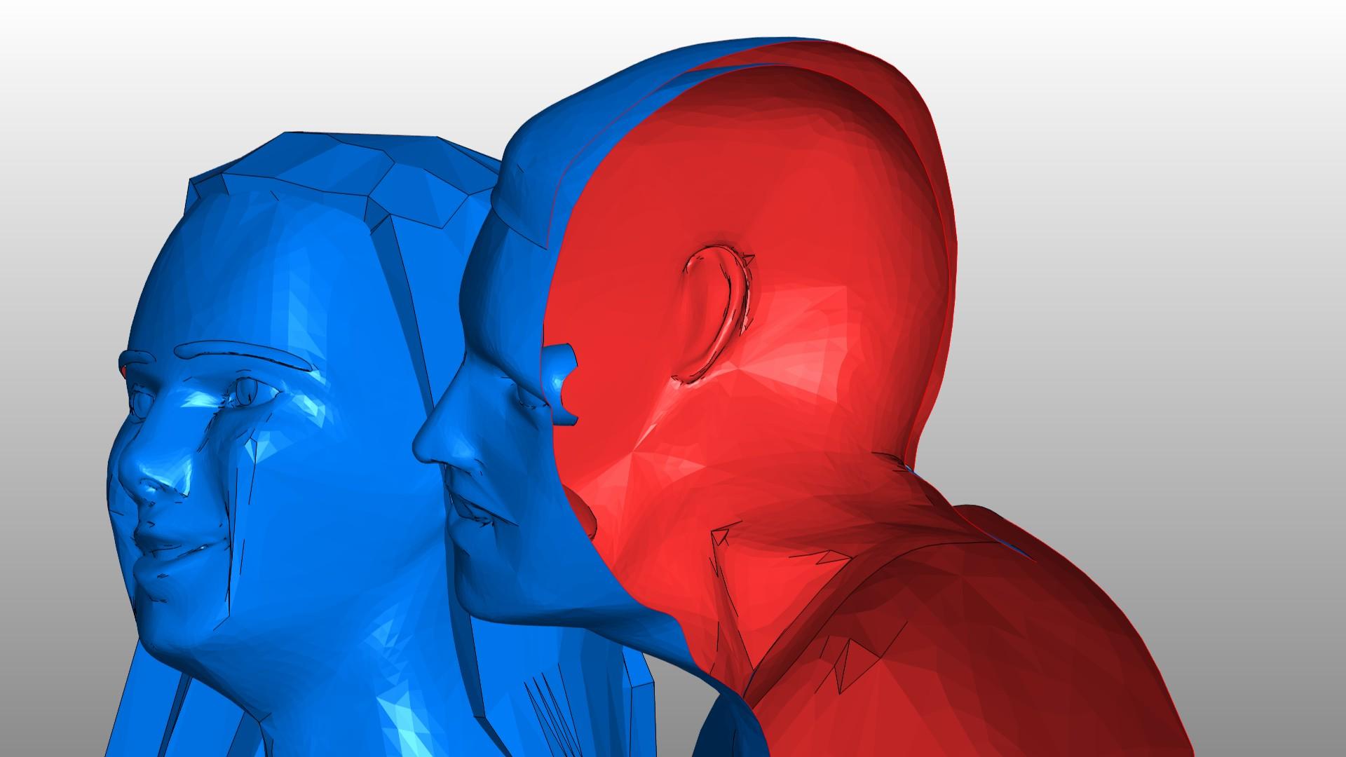 Na przekroju wyraźnie widać, że włosy, głowa i tułów mężczyzny są otwartymi powierzchniami, co sprawia problemy przy wydruku