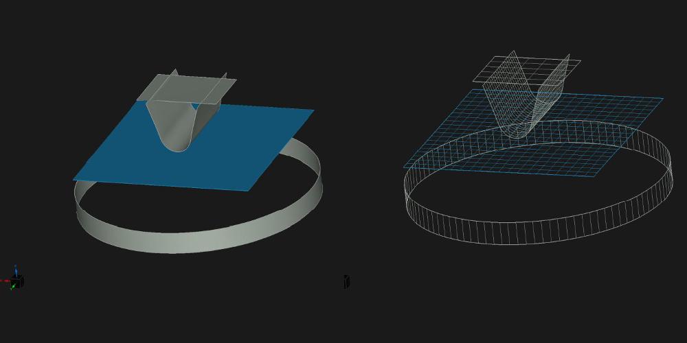 Powierzchnie poddane korekcji i siatka powierzchni wygenerowanych podczas korekcji